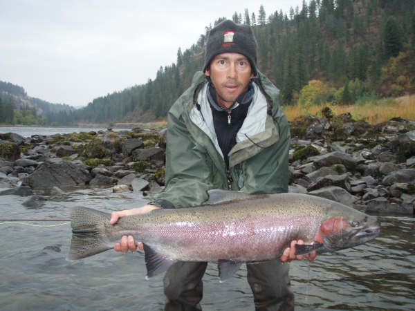 "Steve ""Skinny"" Mock with a Clearwater B-run Steelhead"